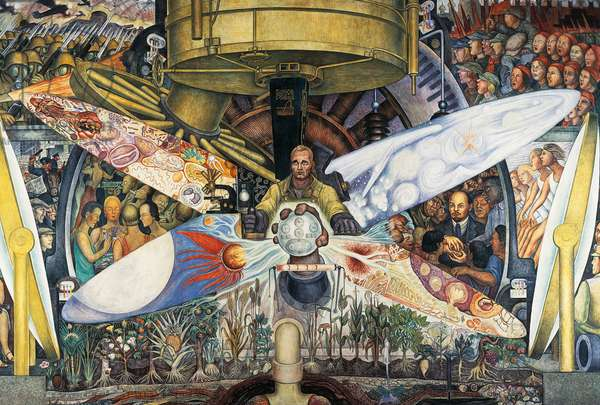 Man at the crossroads, looking with hope and high vision to a new and better future, by Diego Rivera (1886-1957), fresco from the Palace of Fine Arts, Mexico City. Mexico, 20th century. Detail.