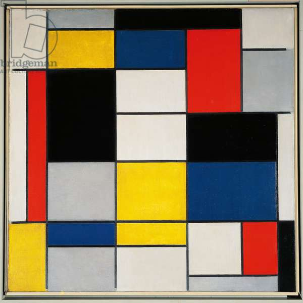 Composition A with black, red, grey, yellow and blue, 1919, by Piet Mondrian (1872-1944), oil on canvas, 91x91 cm. Netherlands, 20th century.