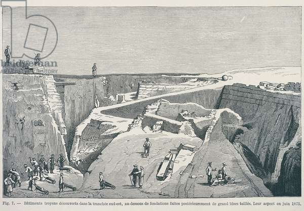 The Trojan buildings discovered in the southeast side during Heinrich Schliemann's (1822-1890) excavations at Ilios in Troy (UNESCO World Heritage List, 1998) in June 1873.