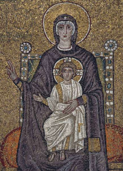 Enthroned Virgin and Child with angels, mosaic, north wall, Basilica of Sant'Apollinare Nuovo (UNESCO World Heritage List, 1996), Ravenna, Emilia-Romagna. Detail. Italy, 5th-6th century.