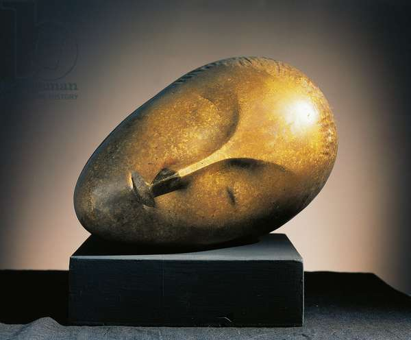 The sleeping muse (La muse endormie), 1910, by Constantin Brancusi (1876-1957), bronze sculpture. Romania, 20th century.