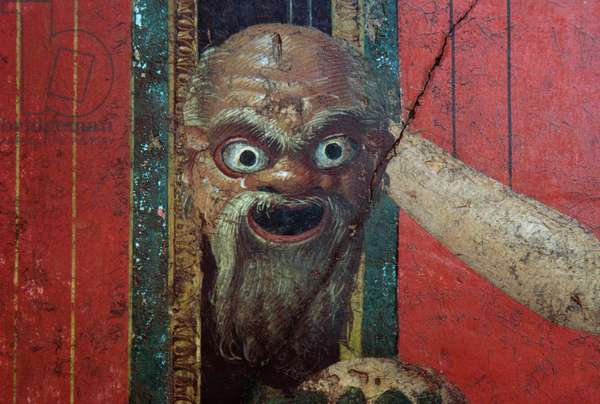 Frightening mask, detail from the scene of the Initiation to the Dionysiac mysteries, Triclinium of the Villa of the Mysteries, Pompeii (UNESCO World Heritage List, 1997), Campania, Italy. Roman civilization, 1st century BC Detail