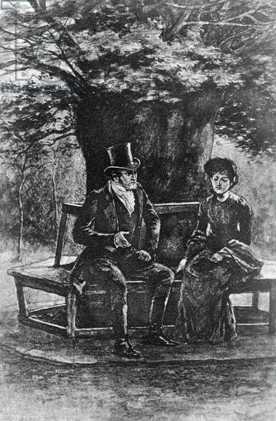 Jane and Mr Rochester under chestnut, Chapter XXIII, illustration by H S Greig for Jane Eyre, Bildungsroman by Charlotte Bronte (1816-1855), published by J M Dent and Company, 1896, London