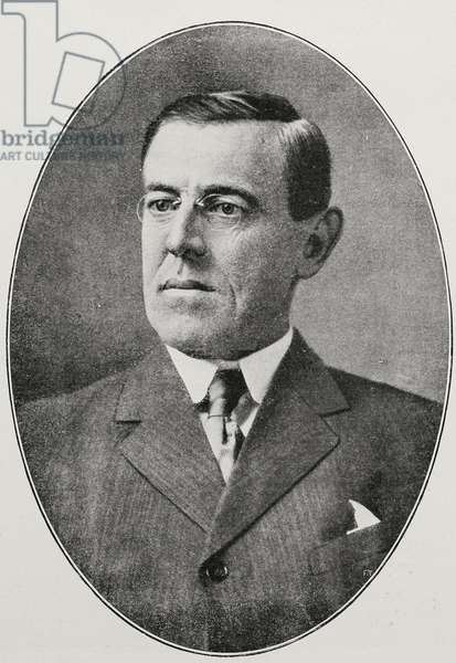 Portrait of Thomas Woodrow Wilson (1856-1924), XXVIII President of USA, from L'Illustrazione Italiana, Year XLIV, No 6, February 11, 1917