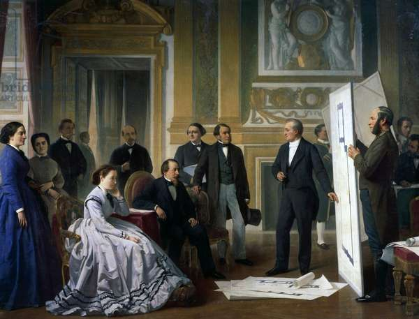 The architect Presenting the New Plans for the Louvre to Napoleon III (1808-73), 1865, painting by Ange Tissier (1814-1876), France, 19th century