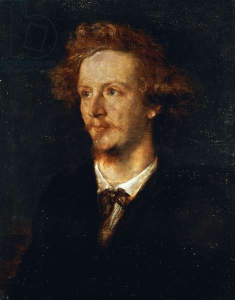 Portrait of Algernon Charles Swinburne (London, 1837 - Putney, 1909), English poet, Oil on canvas by George Frederic Watts (1817-1904), 1867, 64x52 cm