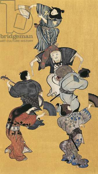 Men and women dancing, detail from screen decorations, ukiyo-e style painting, Japan Japanese Civilisation, Edo period, 17th century