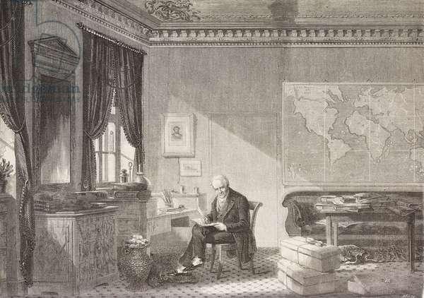 Alexander von Humboldt (1769-1859), German naturalist and explorer, inside his studio, illustration from magazine L'Illustration, Journal Universel, vol 33, no 846, May 14, 1859