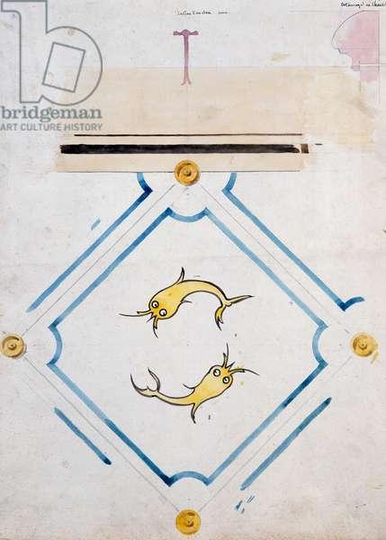 Motifs for a bathroom tile, Chateau d'Eu, by Eugene Emmanuel Viollet-Le-Duc (1814-1879), watercolor drawing