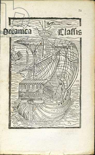 Oceanica classis de insulis inventis, caravel, engraving from letter of Christopher Columbus (1451-1506) to the Spanish treasurer Raphael Sanchez, 1493