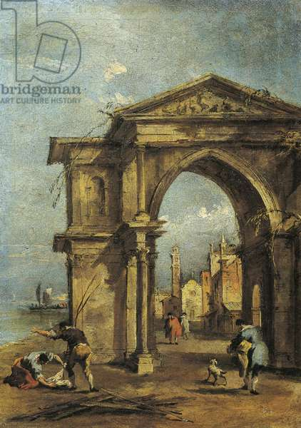 Italy, Bergamo, Fantasy arch with human figures