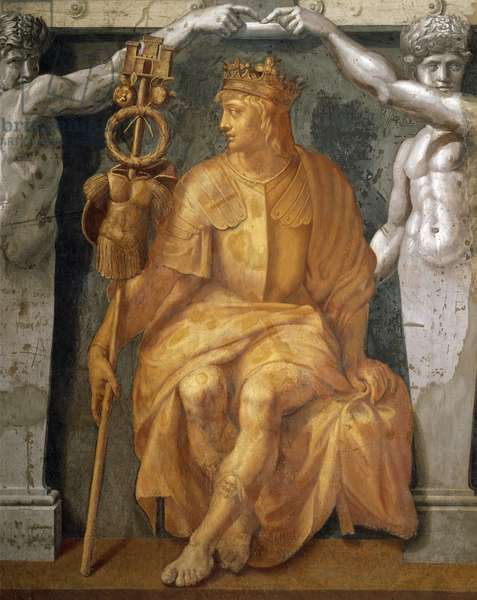 Allegorical figure of an emperor or a sovereign (1514-1517), by Giulio Romano (1499-1546), yellow-brown monochrome fresco, lower section of the Fire in the Borgo room, Vatican Museums, Vatican City