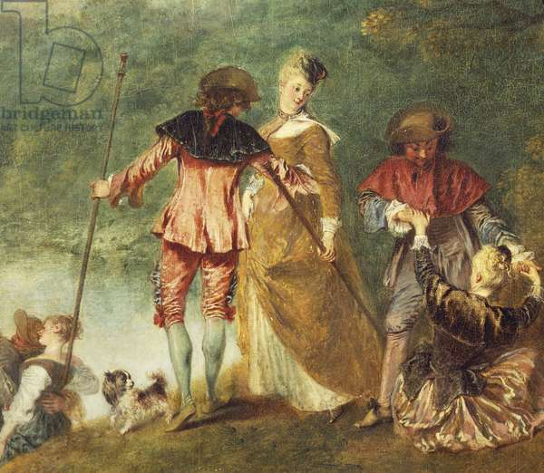 Pilgrimage to the Isle of Cythera, known as Embarkation for Cythera (Cythere), 1717, by Jean-Antoine Watteau (1684-1721), oil on canvas, 129x194 cm, Detail