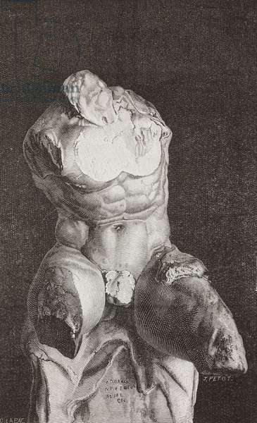 Belvedere Torso, sculpture, drawing by J Petot from The Vatican Museums, 1870, by Francesco Wey (1812-1882)