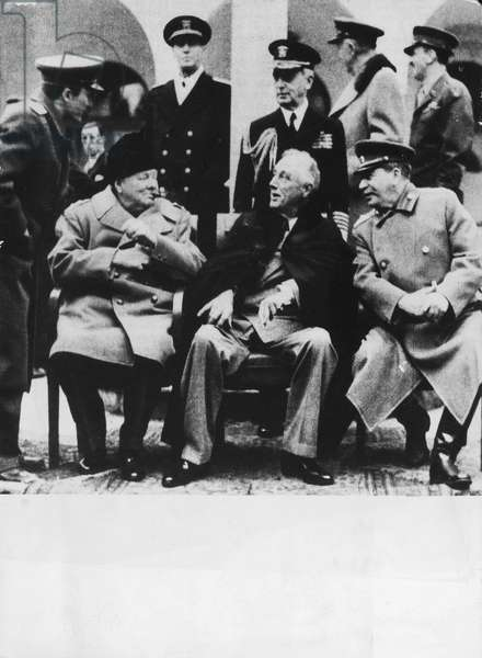 Winston Churchill, Franklin Delano Roosevelt and Joseph Stalin in the courtyard of Livadija Palace, Yalta Conference, February 4-12, 1945, Crimea, World War II, 20th century