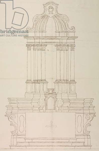 Design for high altar of parish church of Saint Stephen, parish of Corbetta, June 2, 1769, Cardinal Giuseppe Pozzobonelli, elevation drawing, Italy, 18th century