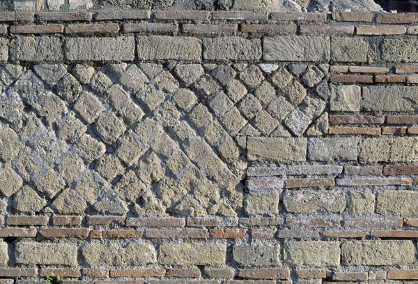 Brick wall, Archaeological site of Pompeii (Unesco World Heritage List, 1997), Campania, Italy, Roman civilization