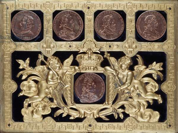 Detail of pair of Louis XIV-style medailliers (coin boxes) from workshop of Andre-Charles Boulle (1642-1732). France, second half of the 17th-early 18th century.