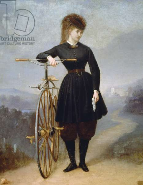 French actress Blanche d'Antigny, pseudonym of Marie Ernestine Blanche d'Antigny (1842-1874), with her velocipede (bicycle), painting by Betinet, oil on canvas