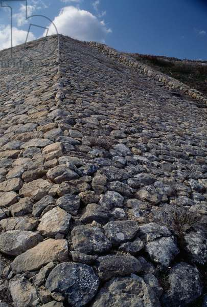Remains of fortifications in Hattusa (Bogazkoy), capital of Hittite empire (Unesco World Heritage List, 1986), Bogazkale, Turkey, Hittite civilization, 2nd millennium BC