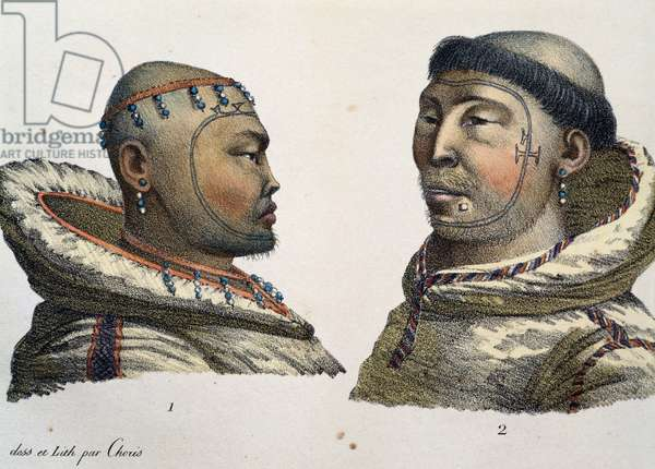 Inhabitants of St Lawrence Island, 1816, by Louis Choris (1795-1828), Western Alaska, 19th century