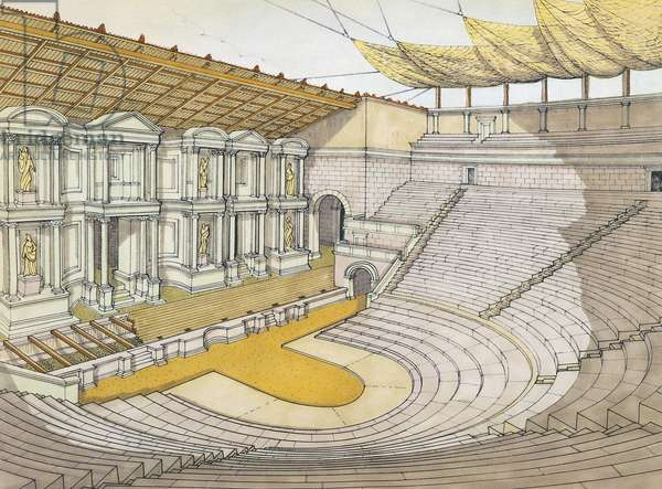 Reconstruction of Grand Theatre in Pompeii, drawing, Roman civilization