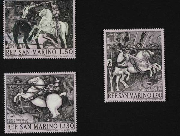 Postage stamps from series honoring Paolo Uccello (1397-1475), 1968, San Marino, 20th century