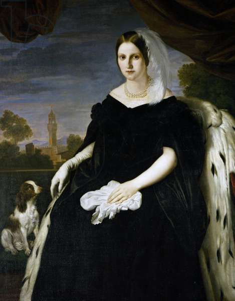 Portrait of Princess Maria Antonia of the Two Sicilies (Palermo, 1814-Gmunden, 1898), and Grand Duchess of Tuscany as the consort of Leopold II (1797-1870), painting by Giuseppe Bezzuoli (1784-1855), 1836, oil on canvas, 187x171 cm