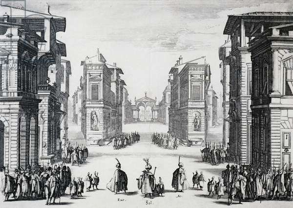 Scene of first act of Suleiman tragedy, by Prospero Bonarelli della Rovere (1588-1659), engraving by Jacques Callot (1592-1635)