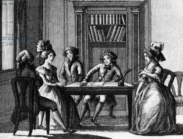 Illustration for fanatical poet, comedy by Carlo Goldoni (1707-1793), engraving, from Opere teatrali del sig avvocato Carlo Goldoni veneziano, published by Antonio Zatta e figli, 1791, Venice