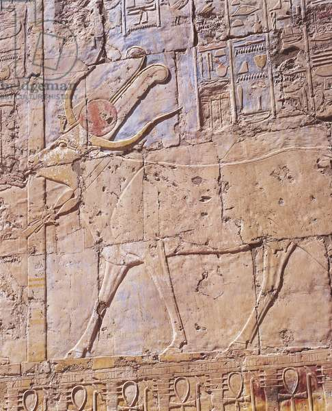 Painted relief of goddess Hathor in form of cow