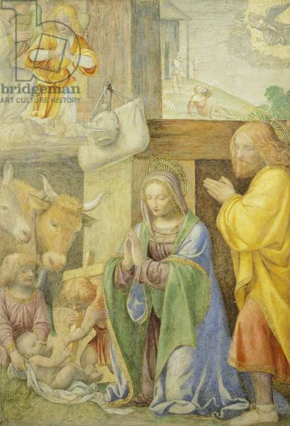 Nativity and Annunciation to the Shepherds, by Bernardino Line, 1520-1525, fresco