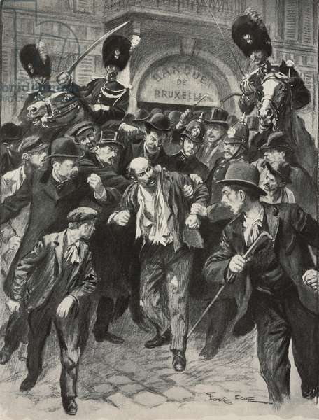 Italian anarchist Gennaro Rubino taken to police station immediately after attack on King Leopold II, Brussels, Belgium, illustration from L'Illustration, No 3117, November 22, 1902