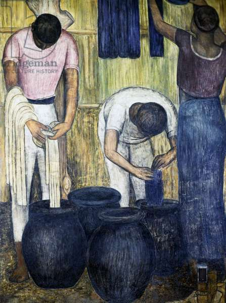 The dyers, 1928, by Diego Rivera (1886-1957), detail from the Ministry of Education frescoes (1923-1928), Mexico City. Mexico, 20th century.