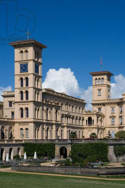 Osborne House, built between 1845-1851 in Italian Renaissance style as Queen Victoria's summer residence, Cowes, Isle of White, United Kingdom