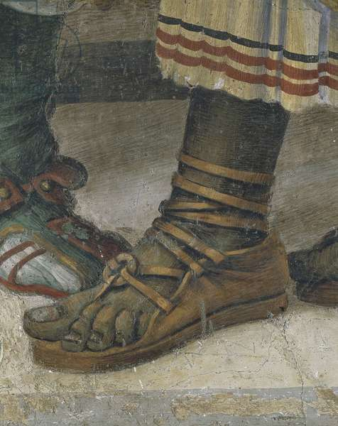St Philip Driving Dragon from Temple of Hieropolis, detail of footwear, fresco, 1502