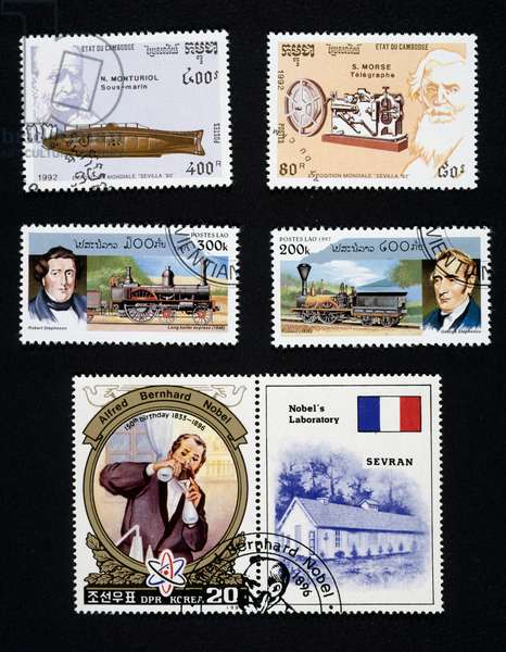 Postage stamps honoring scientist: Narcis Monturiol's submarine and Samuel Morse's telegraph, Long Boiler Express by Robert Stephenson and locomotive by Matthias William Baldwin, Alfred Nobel and gunpowder, Cambodia, Laos and North Korea, 20th century