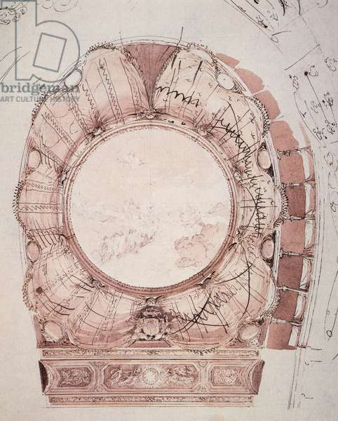 Studio for the ceiling veil of San Carlo Theater in Naples realized by Antonio Niccolini (1772-1850), drawing, Campania, Italy, 19th century