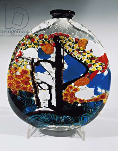 Flask in blown crystal with murrine, by Umberto Bellotto, Barovier Art Glass, 1922, Italy, 20th century