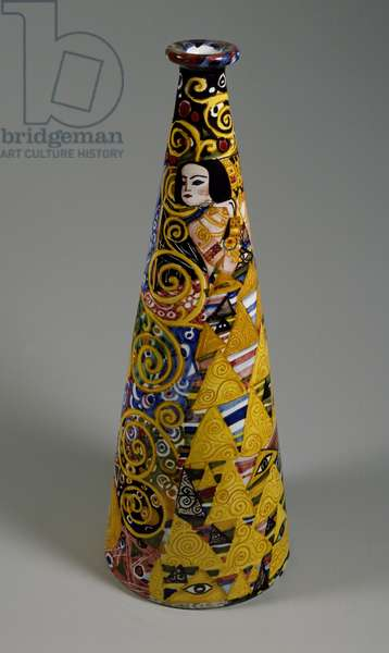 Conical light stand, decoration inspired by Gustav Klimt, by Ceramiche Artistiche Emanion Manufacture, Palermo, Italy, 20th century (ceramic)