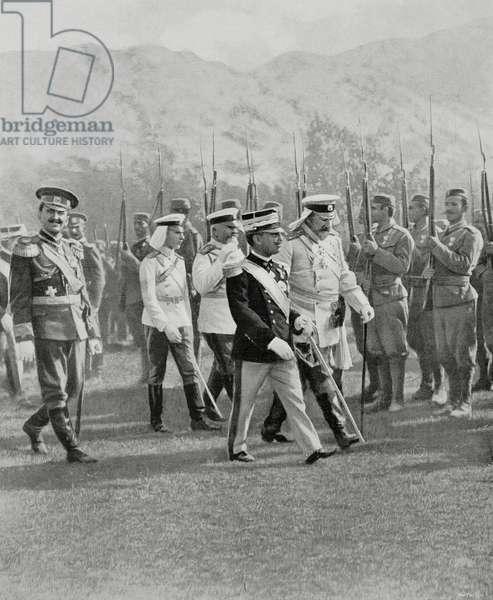 Magazine in honor of Vittorio Emanuele III (1869-1947) and Ferdinand I of Bulgaria (1861-1948) on occasion of coronation of King of Montenegro, August 28, 1910, Montenegro, photo by F Naldi
