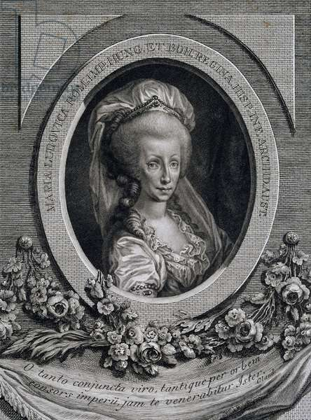 Portrait of Infanta Maria Luisa of Spain (Portici, 1745-Vienna, 1792), Empress consort of Leopold II (1747-1792), emperor of Holy Roman Emperor and Grand Duke of Tuscany (as Peter Leopold), engraving