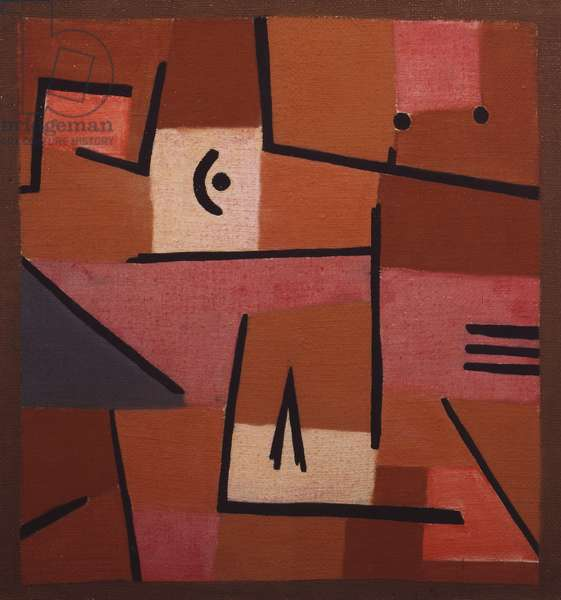 View from Red, 1937, by Paul Klee (1879-1940), pastels, white cotton, jute on a frame fitted with wedges, 47x50 cm