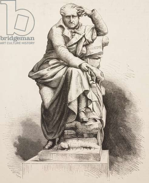 Statue of Francois-Rene de Chateaubriand (1768-1848) unveiled in Saint-Malo, France, illustration from La Ilustracion Espanola y Americana magazine, Year 19, Number 39, October 22, 1875