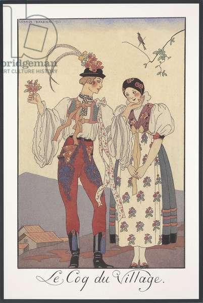Falbalas et Fanfreluches, Almanac for 1922, Le coq du village, by George Barbier, print