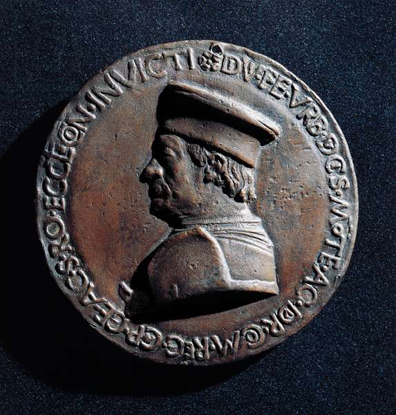 Medal depicting Federico da Montefeltro (1422-1482), ca 1492, designed by Sperandio Bartolommeo de' Savelli (1431-1504), obverse, Italy, 16th century