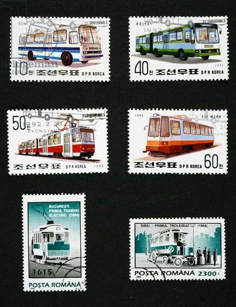 Postage stamps honoring transport: Top and centre, Postage stamps depicting bus, Double-decker bus, Trolley bus and tram, 1992, North Korea