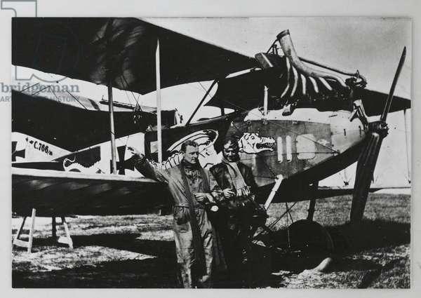 Manfred von Richthofen (1892-1918), German aviator, with officer of his squadron next to DFW biplane, World War I, 20th century