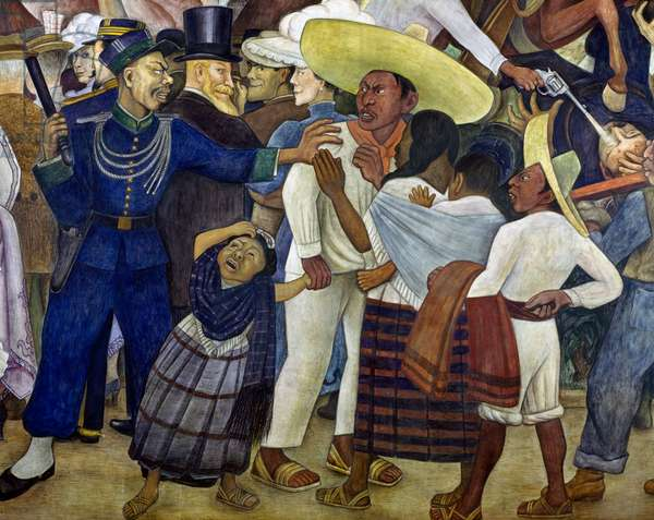 Gendarme pushing a farmer away, detail from Dream of a Sunday afternoon in Alameda Park, 1947, by Diego Rivera (1886-1957), from the Hotel del Prado fresco. Mexico, 20th century.