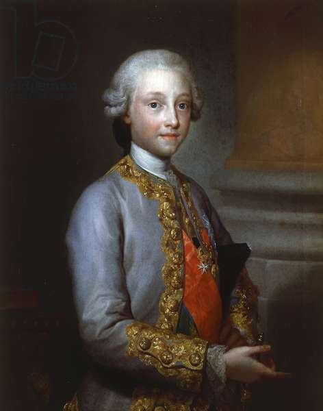 Portrait of Infante Gabriel of Spain (Portici, 1752-San Lorenzo de El Escorial, 1788), fourth son of Charles III of Spain and Maria Amalia of Saxony, Painting by Anton Raphael Mengs (1728-1779)